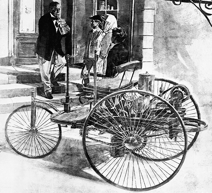 Drawing of the vehicle Bertha Benz drove on her journey. Black and white drawing of tricycle-looking car.