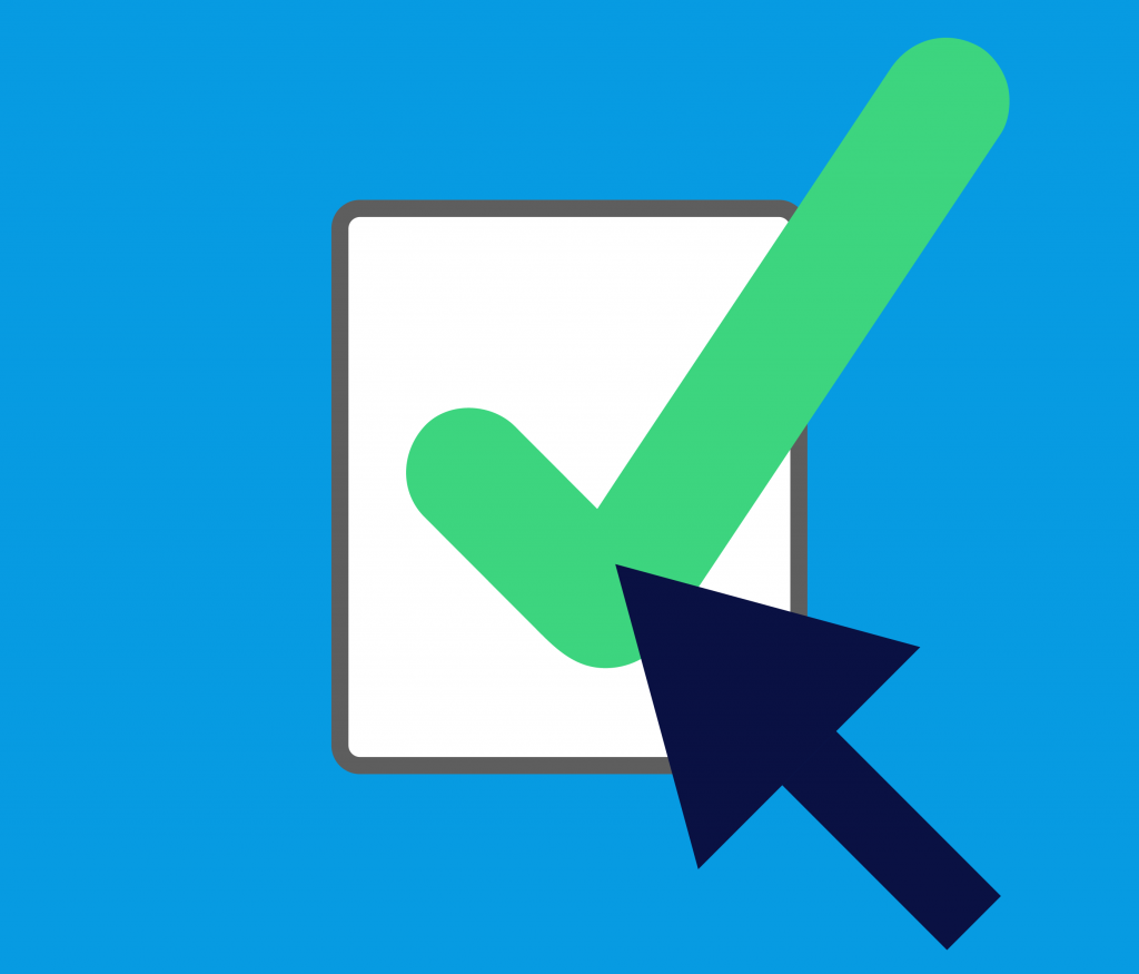 Mouse arrow hovering over checked box