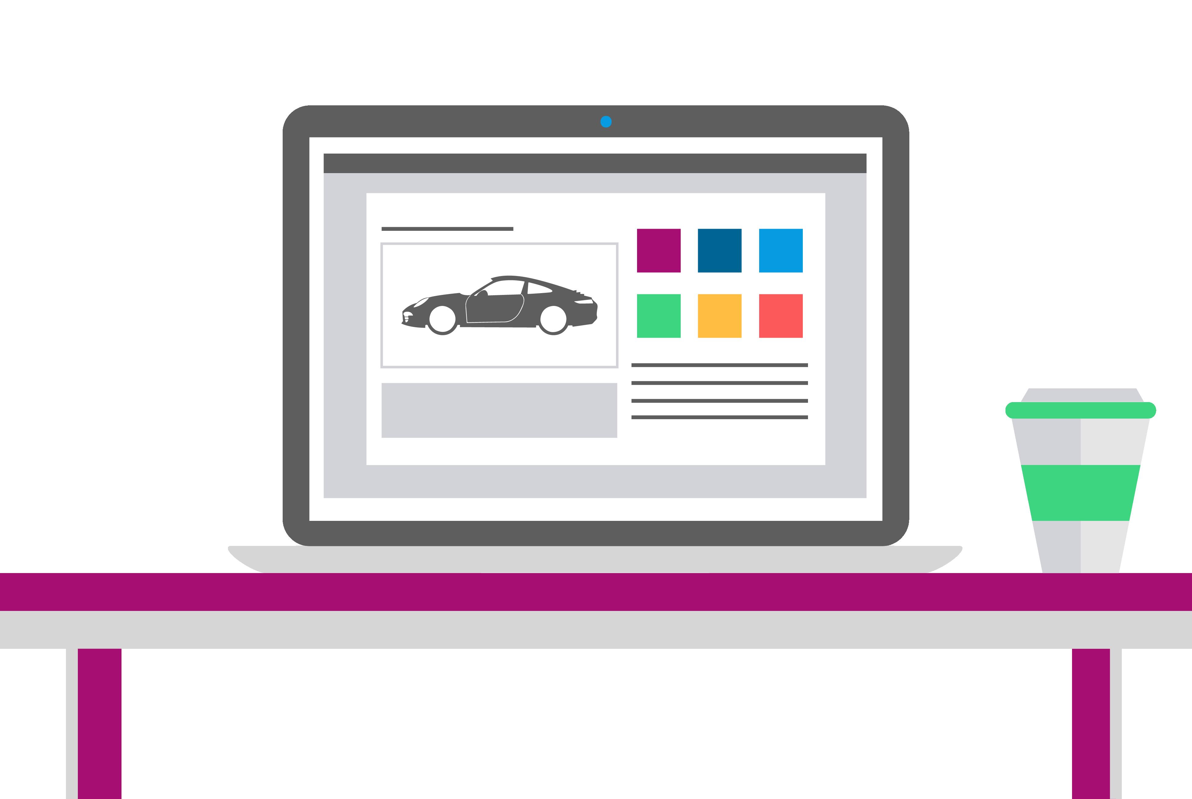 Laptop on desk showing car website. Coffee is beside laptop