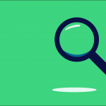 blue magnifying glass on green background