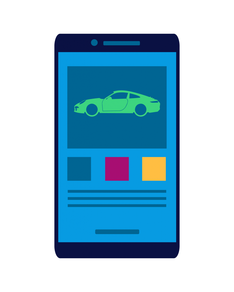Illustration of phone with car buying page pulled up