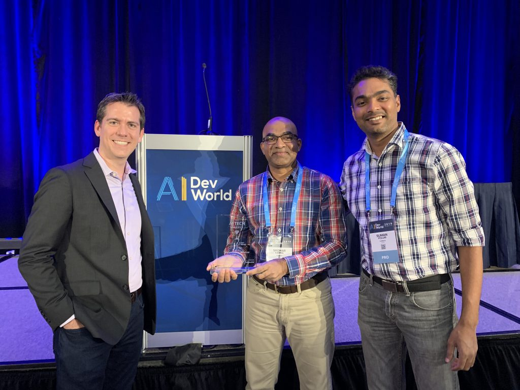 Our founders, Sri and Suman, accepting the award for Innovator of the Year in San Jose, CA.