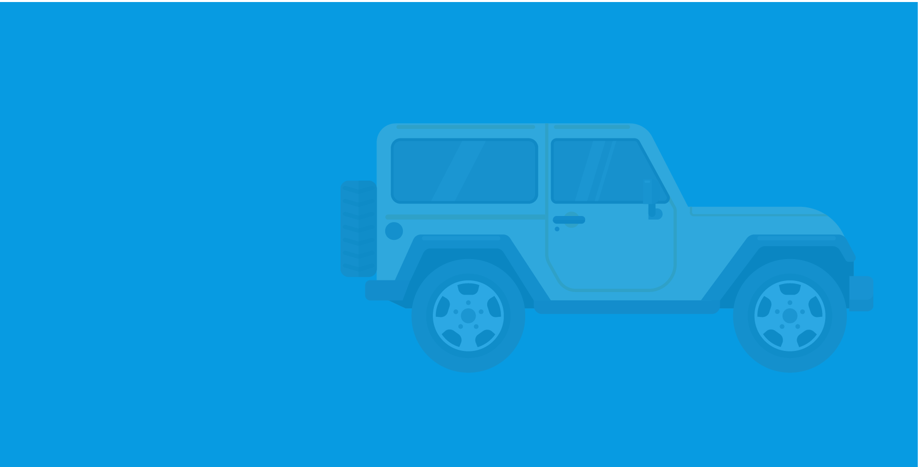 Blue background with yellow jeep with reduced opacity on top